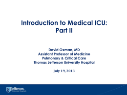Introduction to Medical ICU Part II