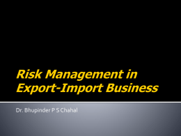 Risk Management in Export