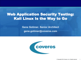 Web Application Security Testing: Kali Linux Is the Way to