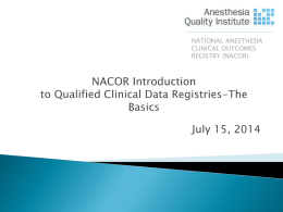 NACOR Introduction to Qualified Clinical Data Registries