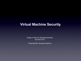 Security of Virtual Machines