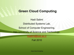 Green Cloud Computing - IUST Personal Webpages
