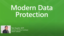 Presentation to Chapter, Ton Huynh, Veeam, 20 June 2014