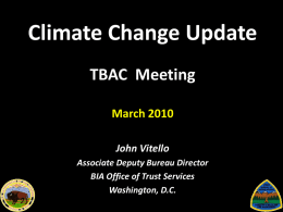 Climate Change Update (TBAC Meeting)