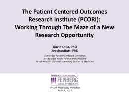 The Patient Centered Outcomes Research Institute (PCORI