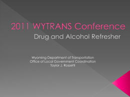Drug and Alcohol - Wyoming Department of Transportation