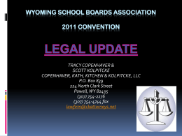 2011 Legal Update - Wyoming School Boards Association