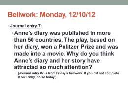 Week 3: The Diary of Anne Frank
