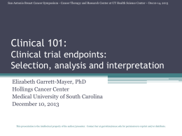 Clinical 101: Clinical trial endpoints