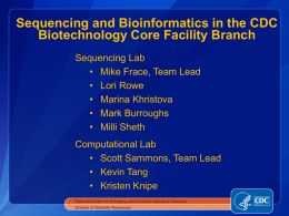 Scott Sammons - Sequencing And Bioinformatics In The CDC