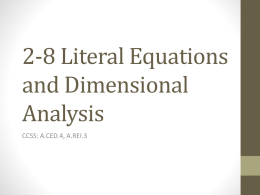 2-8 Literal Equations and Dimensional Analysis