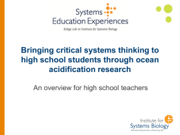 Bringing Systems Thinking to your High School Students through