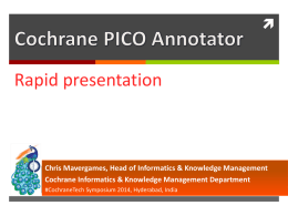 Cochrane PICO Annotator Chris Mavergames, Head of Informatics