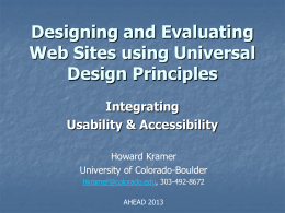 Designing and Evaluating Web Sites Using Universal