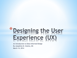 Designing the User Experience (UX): An Introduction to Data
