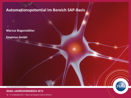 "Vortrag ""Automationspotential im Bereich SAP-Basis"""