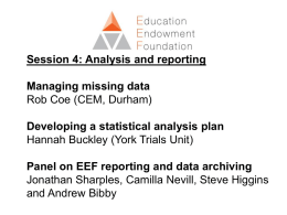 Session 4 - Analysis and reporting
