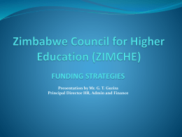 Zimbabwe Council for Higher Education (ZIMCHE) FUNDING