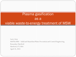 Plasma Gasification of MSW presentation Gray