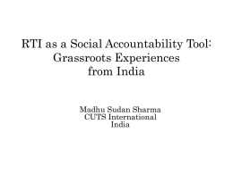 RTI as a Social Accountability Tool: Indian Experiences