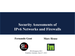 IPv6 Security and Firewalls