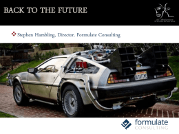 BACK TO THE FUTURE - Formulate Consulting