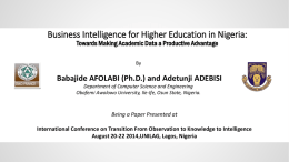 Business Intelligence for Higher Education in Nigeria: - ISKO
