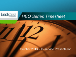 HEO Timesheet Training Presentation