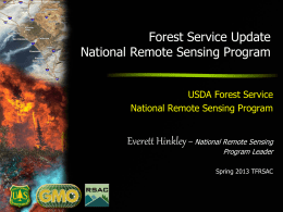 Forest Service Update National Remote Sensing Program