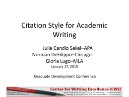 Chicago Writing Style - Montclair State University