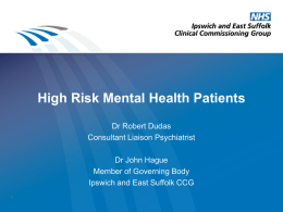 Primary Care Mental Health - Ipswich and East Suffolk CCG