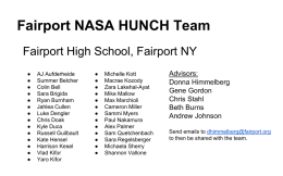 Fairport NASA HUNCH Team
