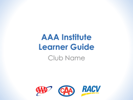 AAA Institute Learner Guide - AAA Campus