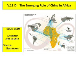 China in Africa - ECON 3510 – African Economic Development