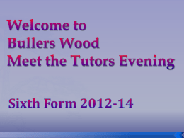 Meet the tutors form tutor presentation 2012
