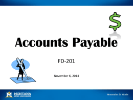 Accounts Payable FD-201 - Montana State University