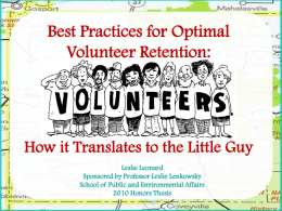 Best Practices for Optimal Volunteer Retention: How it Translates to