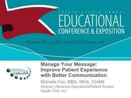 Manage Your Message - National Association of Healthcare Access