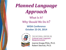 In the home language - WIDA 2015 National Conference