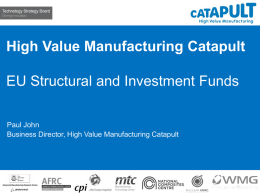 High Value Manufacturing Catapult presentation