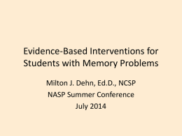 KASP Working Memory Interventions