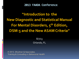 The DSM-5 - Florida Alcohol and Drug Abuse Association