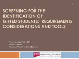 Screening for the Identification of Gifted Students