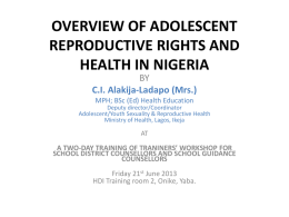 overview of adolescent health and development