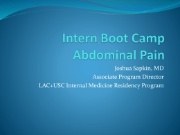 Intern Boot Camp Abdominal Pain