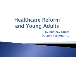 Healthcare Reform and Young Adults