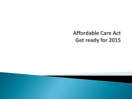Year-End Webinar - Affordable Care Act Preparations