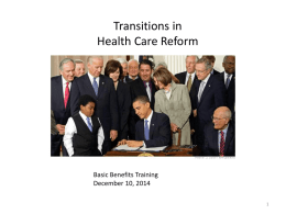 Transitions in Health Care Reform