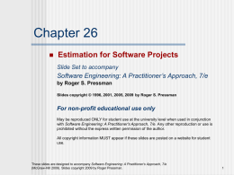Estimation for Software Projects – Chapter 26 (ppt)