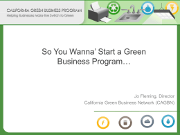 Green Business Program Introduction Presentation